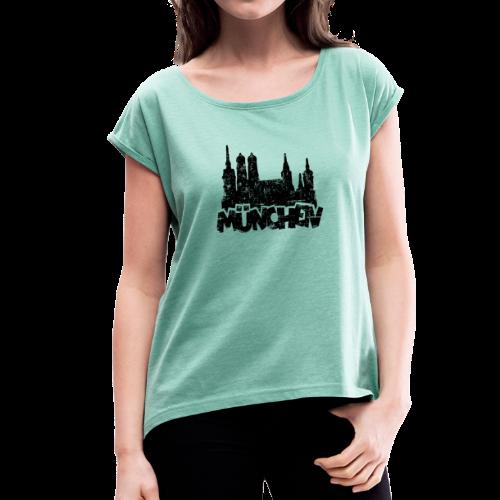 München Skyline Vintage T-Shirt - Frauen T-Shirt mit gerollten Ärmeln