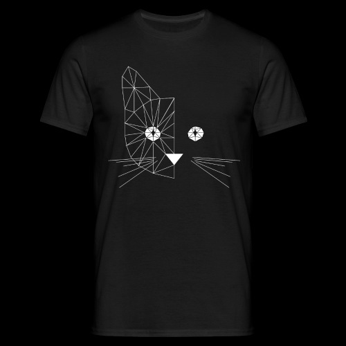 Polygonal Cat Face White - Männer T-Shirt