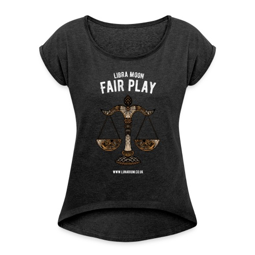 Libra Moon Women's T-shirt with rolled up sleeves - Women's T-shirt with rolled up sleeves