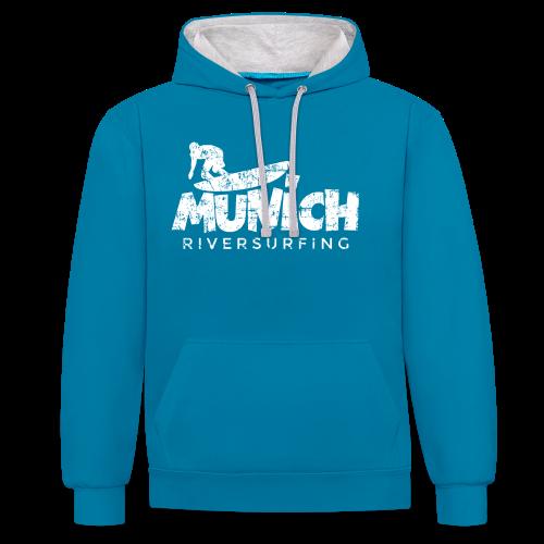 Munich Riversurfing (Vintage/Weiß) Kontrast Hoodie - Kontrast-Hoodie