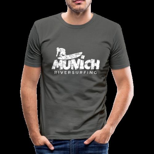 Munich Riversurfing (Vintage/Weiß) Slim Fit T-Shirt - Männer Slim Fit T-Shirt