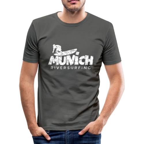 Munich Riversurfing (Vintage/Weiß) Slim Fit T-Shirt - Männer Slim Fit T-Shirt