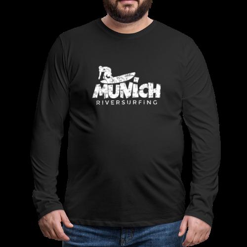 Munich Riversurfing (Vintage/Weiß) Langarmshirt - Männer Premium Langarmshirt