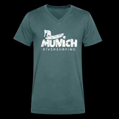 Munich Riversurfing (Vintage/Weiß) V-Neck T-Shirt - Männer Bio-T-Shirt mit V-Ausschnitt von Stanley & Stella