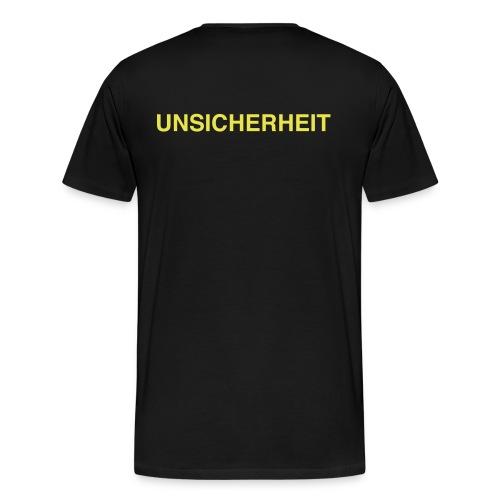 UNSICHERHEIT t-shirt (gelb auf schwarz) - Männer Premium T-Shirt
