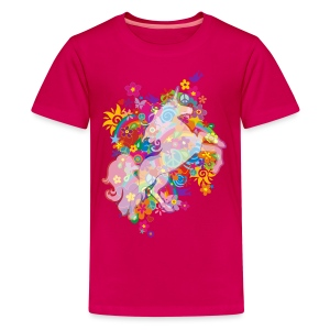 Flower Power Regenbogen Einhorn - Teenager Premium T-Shirt