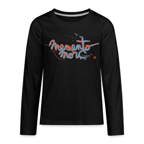 Ado / Memento mori - argent et orange néon - T-shirt manches longues Premium Ado