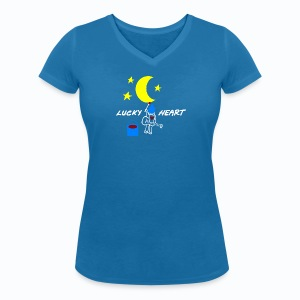Lucky Heart - Painting the moon - Frauen T-Shirt mit V-Ausschnitt