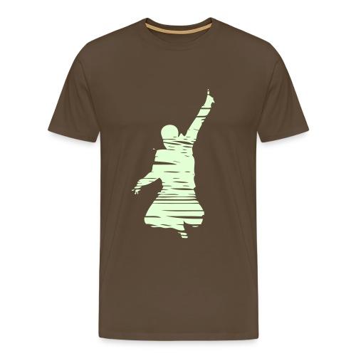 Jumping Man Schraffur Glow Front - Man Shirt - Männer Premium T-Shirt