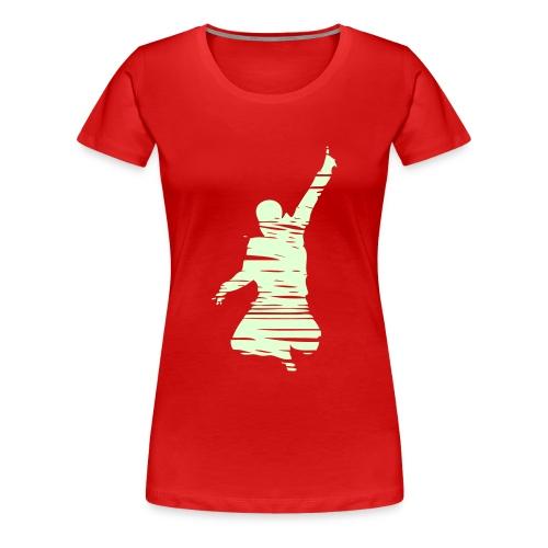 Jumping Man Schraffur Glow Front - Woman T-Shirt - Frauen Premium T-Shirt