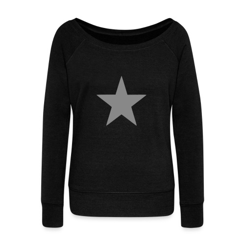 Silver Glitter Star Slouch Jumper - Women's Boat Neck Long Sleeve Top