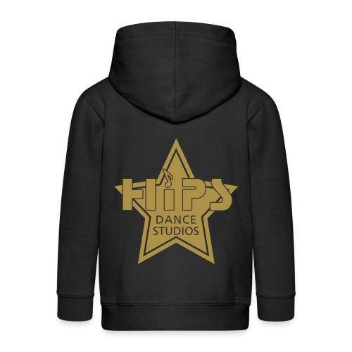 Hætte jakke børn - Goldstar big - Guldglimmer tryk - Premium hættejakke til børn