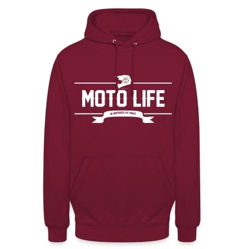 MOTO LIFE Hoodie mit weißen Motiv - Unisex Hoodie