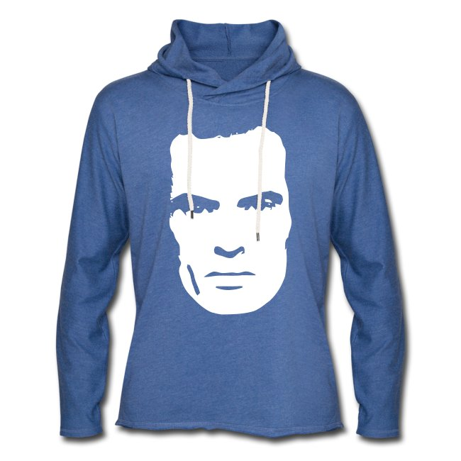 AM-Face. Light Blue Unisex Thin Hoodie.