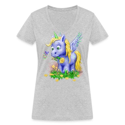 Unicorn on Mushrooms (privat) - Frauen Bio-T-Shirt mit V-Ausschnitt von Stanley & Stella
