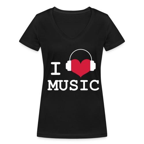 I love Music - Girld - Women's Organic V-Neck T-Shirt by Stanley & Stella