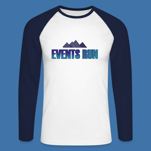 T-shirt Old School manches longues Events Run - Blanc / Bleu  - T-shirt baseball manches longues Homme