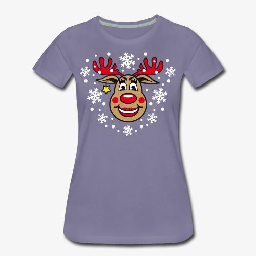 Hirsch Frau Rudolph Weihnachtselch witzig T-Shirt - Frauen Premium T-Shirt