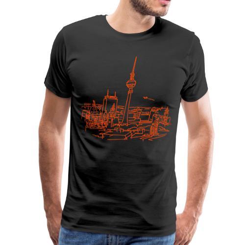 Berlin Panorama (neon-orange) - Männer Premium T-Shirt