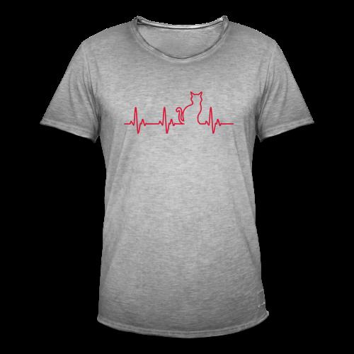 Herzschlag Katze - Männer Vintage T-Shirt
