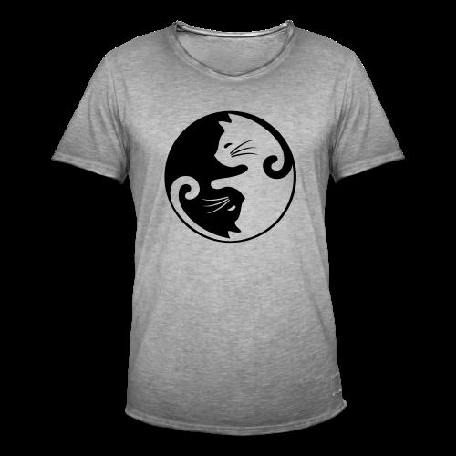 Katzen Ying Yang - Männer Vintage T-Shirt