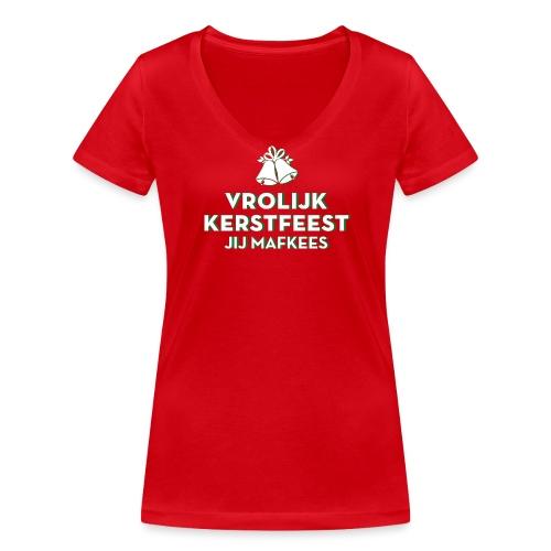 Vrolijk Kerstfeest vrouwen v-hals bio - Vrouwen bio T-shirt met V-hals van Stanley & Stella