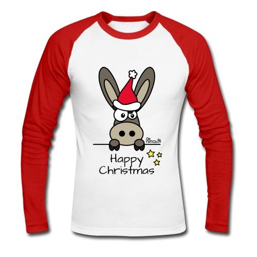 T-shirt baseball ml Homme Âne Noël Happy Christmas - T-shirt baseball manches longues Homme