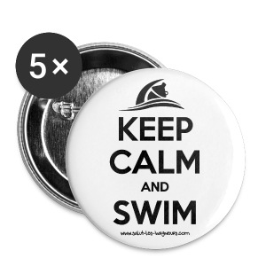 Badge moyen 32 mm Keep calm and swim  - Badge moyen 32 mm