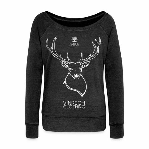 VINRECH CLOTHING - Nature - Cerf Blanc - Pull femme col bateau Noir chiné - Pull Femme col bateau de Bella