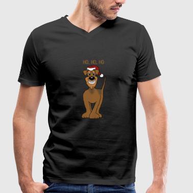 Airedale Terrier Santa - Männer Bio-T-Shirt mit V-Ausschnitt von Stanley & Stella