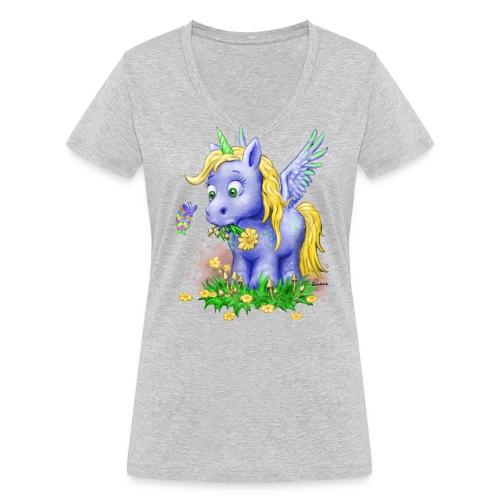 Unicorn on Mushrooms (girl/v-neck) - Frauen Bio-T-Shirt mit V-Ausschnitt von Stanley & Stella