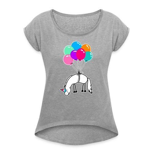 Ich bin ein Einhorn T-Shirts - Frauen T-Shirt mit gerollten Ärmeln