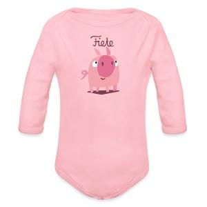 'Piggy' Fiete Baby Body - rose - Baby Bio-Langarm-Body