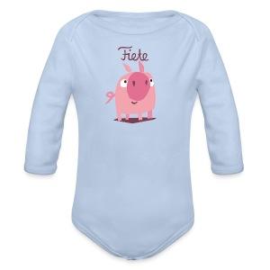 'Piggy' Fiete Baby Body - lightblue - Baby Bio-Langarm-Body
