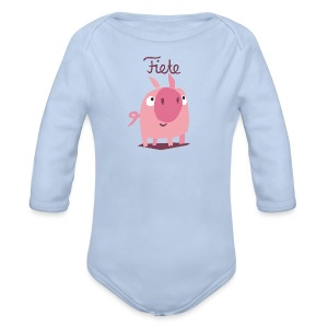 'Piggy' Fiete Baby Body - lightblue - Baby Langarm-Body