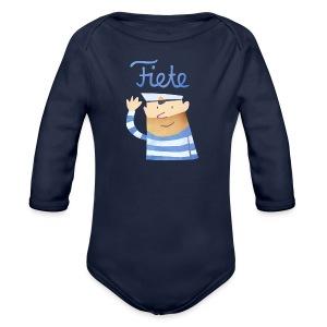 'Hello' Fiete Baby Body - navy - Baby Bio-Langarm-Body