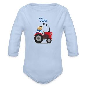 'Farm' Fiete Baby Body - lightblue - Baby Bio-Langarm-Body