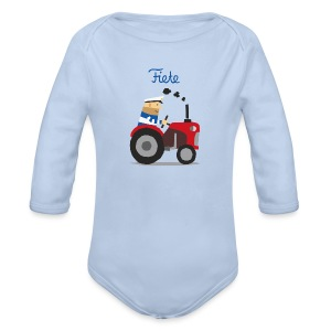 'Farm' Fiete Baby Body - lightblue - Baby Bio-Langarm-Body