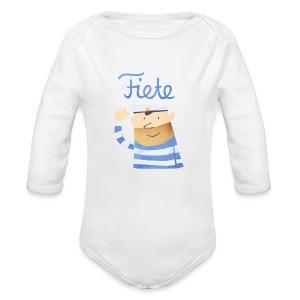 'Hello' Fiete Baby Body - white - Baby Bio-Langarm-Body
