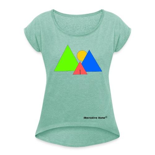 In front the Mountains  - Frauen T-Shirt mit gerollten Ärmeln