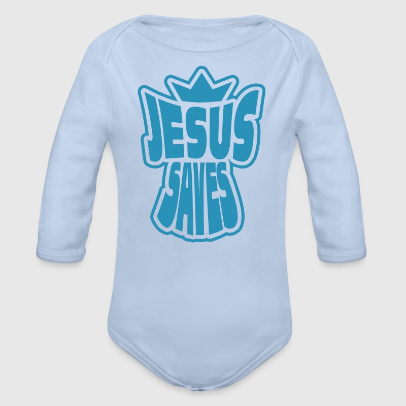 jesus saves Baby Bodys - Baby Bio-Langarm-Body
