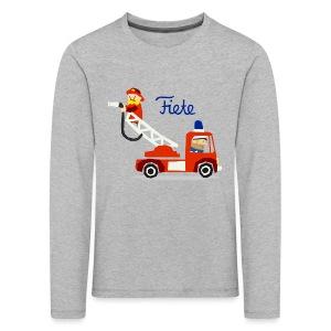 'Firefighter' Fiete Kids Longsleeve - grey - Kinder Premium Langarmshirt