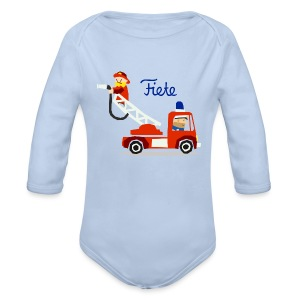 'Firefighter' Fiete Baby Body - lightblue - Baby Bio-Langarm-Body