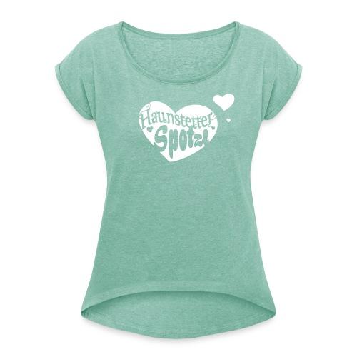 Damen Shirt minze meliert | Haunstetter Spotzl | white - Frauen T-Shirt mit gerollten Ärmeln