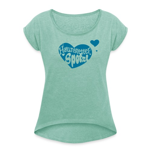 Damen Shirt minze meliert | Haunstetter Spotzl | petrol - Frauen T-Shirt mit gerollten Ärmeln