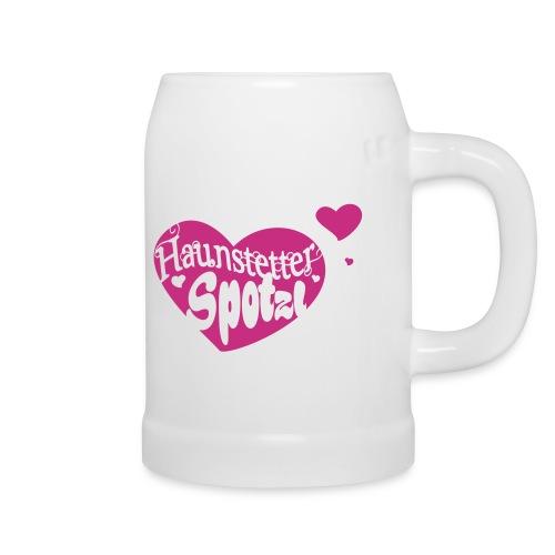 Keramik Bierkrug pink   Haunstetter Spotzl - Bierkrug