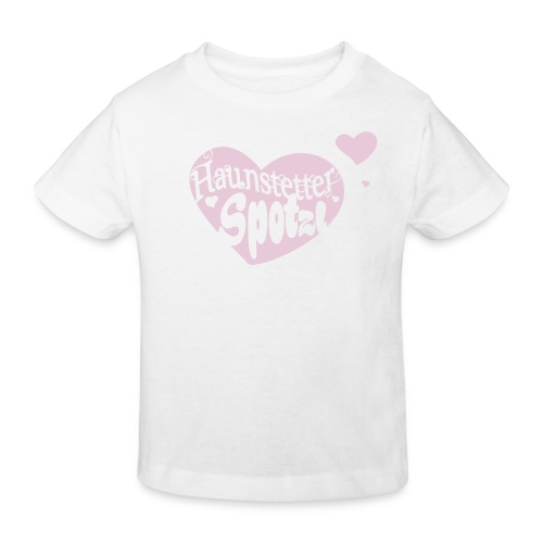 Kinder Bio Shirt weiß | Haunstetter Spotzl | rose - Kinder Bio-T-Shirt