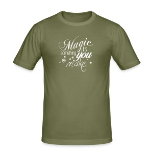 Mens Slim Fit Shirt | khaki/white | Magic is something you make - Männer Slim Fit T-Shirt
