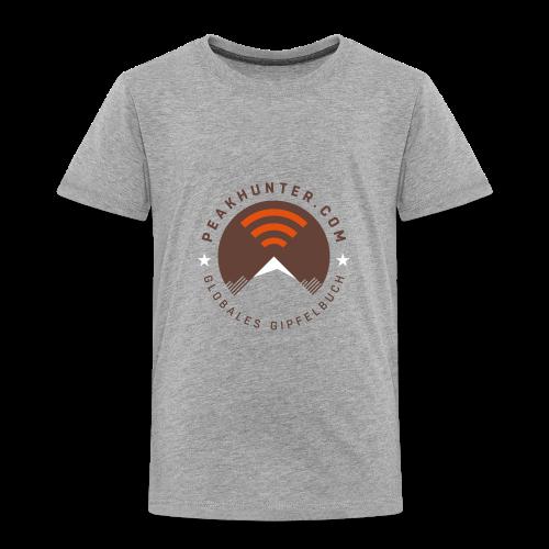 Kinder T-Shirt Peakhunter Globales Gipfelbuch Grau - Kinder Premium T-Shirt