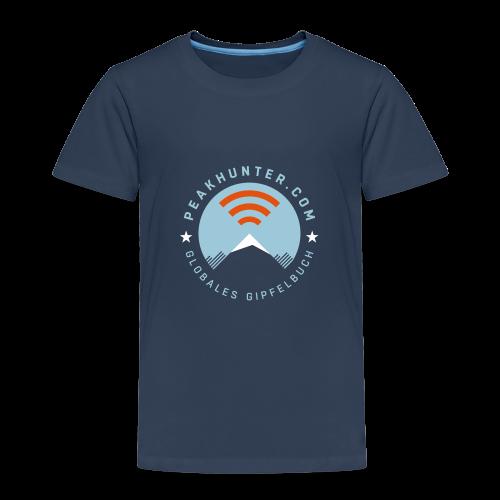 Kinder T-Shirt Peakhunter Globales Gipfelbuch Navy - Kinder Premium T-Shirt
